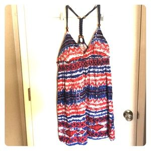 Red, White, and Blue Tie Dye Style VNeck Dress, XL